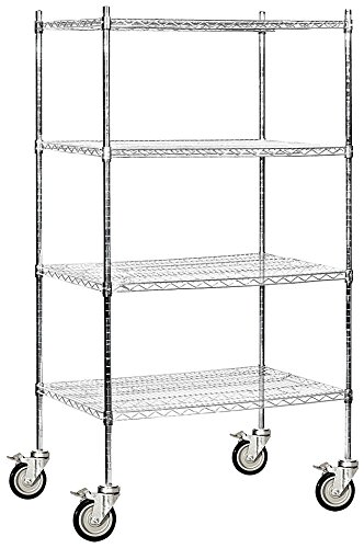 Salsbury Industries Mobile Wire Shelving Unit, 36-Inch Wide by 80-Inch High by 24-Inch Deep, Chrome by Salsbury Industries