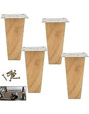 4-delige houten bankpoten, betrouwbare houten meubelpoten, vierkante taps toelopende kastpoten, vervangende poten, met montageaccessoires, voor bank, bank, bed, salontafel (20 cm/7