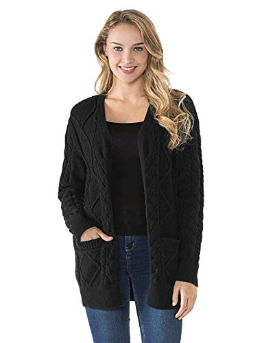 PrettyGuide Women's Cardigan Sweater Cable Knit Open Front Outerwear with Pocket Black XL