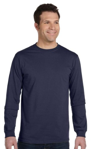 Econscious Mens 100  Organic Cotton Long Sleeve Tee  Pacific  Large