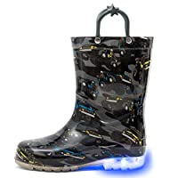 HugRain Toddler Boys Rain Boots Kids Light Up Printed Waterproof Shoes Lightweight Adorable Cars Black with Easy-On Handles (Size 9,Black)