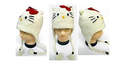 Hello Kitty Deluxe Hand Made Knitted Laplander Beanie -