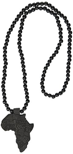 Hip-Hop African Map Pendant Wood Bead Rosary Necklaces, Black