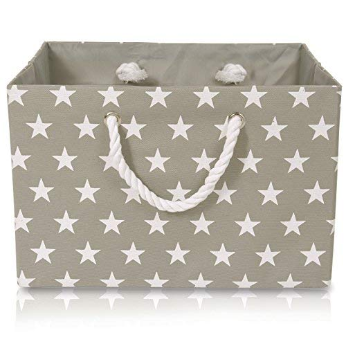 Foldable Gray Canvas Storage Basket Rectangle Fabric Basket with White Stars Pattern - Perfect for Household Storage, Fabrics or Toys. Size: Width 16.5ins x Depth 12.5ins x Height 11ins
