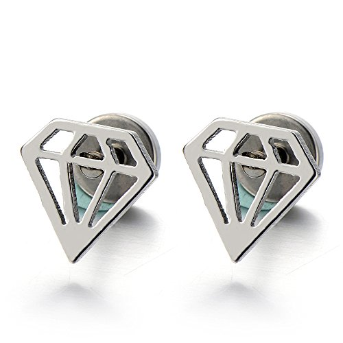 Unisex Stainless Steel Diamond Shaped Stud Earrings for Man and Women Screw Back, (Diamond Shaped Hoop)