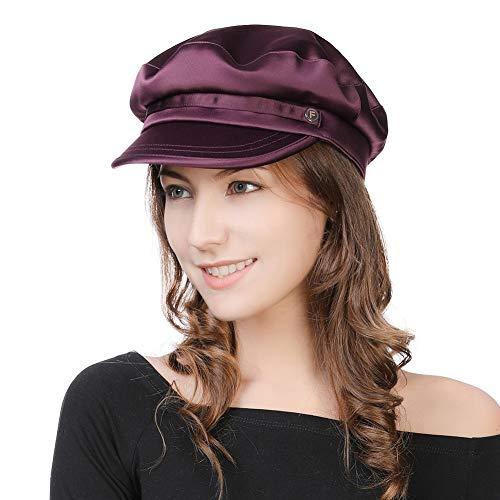 Womens Newsboy Cap Baker Berets Fisherman Conductor Greek Hat Winter Sailor Fiddler Casual Fashion Cancer Satin Amazon -
