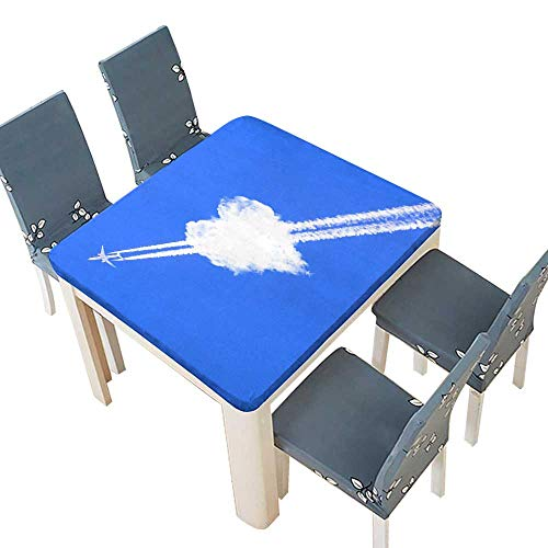 PINAFORE sanlianhuaA Jet Plane Passing Through a Love Cloud Table Cover 37.5 x 37.5 INCH (Elastic Edge)