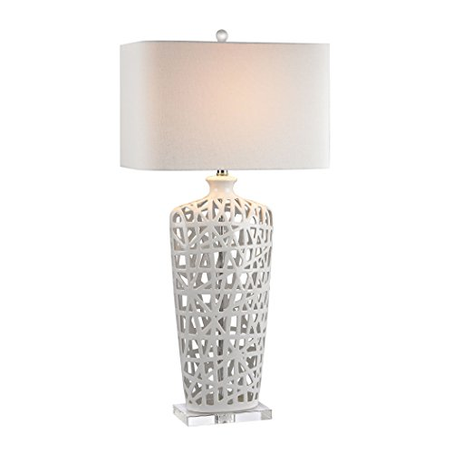 Diamond D2637 Lighting Gloss White Ceramic Table Lamp with Off-White Linen Shade, 36