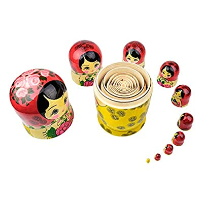 Heka Naturals Russian Nesting Dolls, 10 Traditional Matryoshka Classic Semyonov Red Style | Wooden Doll Gift Toys, Hand Made in Russia | Semyonov Red, 10 Piece, 9.85 inches: Toys & Games