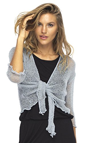 Back From Bali Womens Lightweight Knit Cardigan Shrug Lite Sheer Grey Blue - Metallic Knit Tank