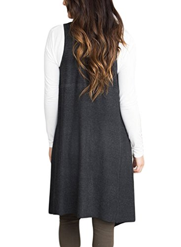 Sidefeel Women Sleeveless Open Front Knitted Long Cardigan Sweater Vest Pocket XX-Large Black by Sidefeel (Image #2)