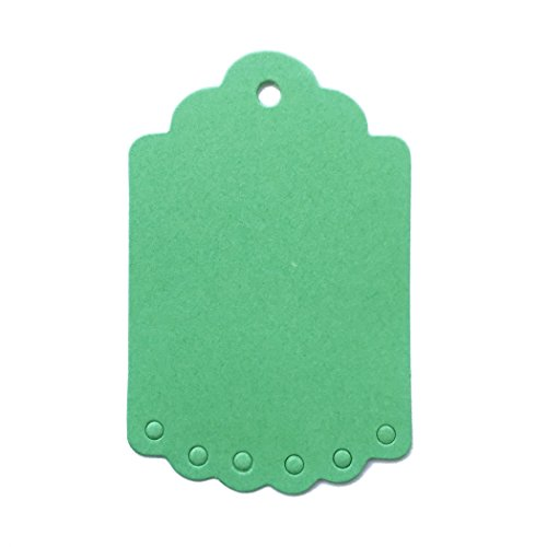 LWR Crafts 100 Hang Tags Scalloped Top and Bottom Rectangle with Jute Twines 100ft (2 3/4