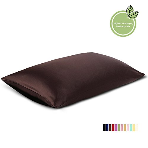 ElleSilk Espresso Silk Pillowcase, 22 MM Pure Mulberry Silk, Kind to Skin and Hair, King Size, 1pc (Pillow Case Espresso compare prices)