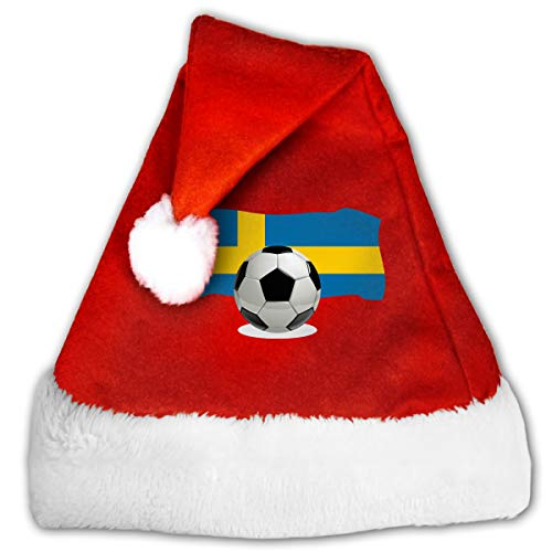 Soccer Ball with Sweden Flag Christmas Hat, Red&White