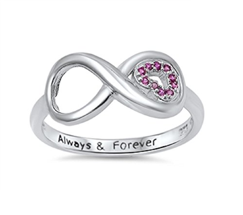 CloseoutWarehouse Cubic Zirconia Always and Forever Infinity Ring Sterling Silver Size - Rings Together Forever