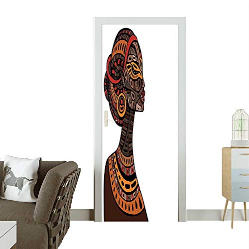 Homesonne 3D Photo Door Murals Pagan Exotic Beauty Woman Figure with Traditional Mask Totem Illustration Brown Cinnamon Easy to Clean and applyW38.5 x H79 INCH -