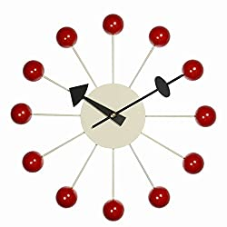 MJ DESIGN Decorative Wooden and Metal Analog Wall Clock - 12.9 Colorful Wooden Balls (Red)