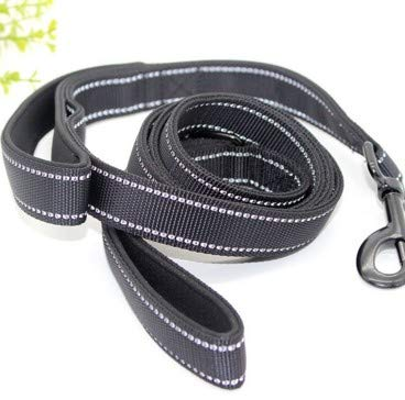 Black M Black M GaoMiTA Traction Rope Dog Traction Large and Medium Dog Nylon Double Layer Thick Reflective Dog Leash (color   Black, Size   M)