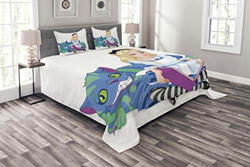 Ambesonne Alice in Wonderland Bedspread, Alice Reading Book Cat Colorful World Happiness Love Character Image, Decorative Quilted 3 Piece Coverlet Set with 2 Pillow Shams, Queen Size, White Purple -