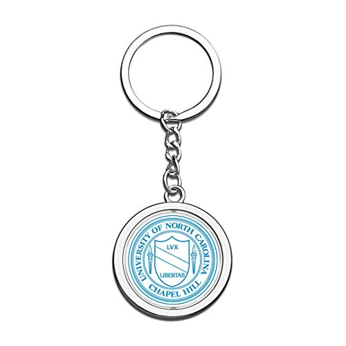 University of North Carolina at Chapel Hill UNC Badge Keychain 3D Crystal Creative Spinning Round Stainless Steel Keychain Souvenir Key Chain Ring]()