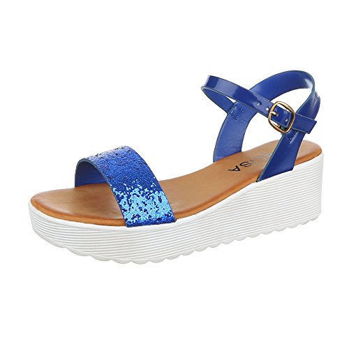 Ital-Design Komfortsandalen Damen Schuhe Römersandalen Keilabsatz/Wedge Keilabsatz Schnalle Sandalen/Sandaletten Blau