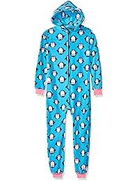 Skiny 72447 Pijama para Niñas, Color Azul/Estampado Continuo, 16