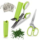 All Prime Herb Scissors - Also Included 3 FREE Herb Pouches ($6 Value) - Multipurpose 5 Blade Stainless Steel Shears - Protective Guard Cover & Blade Cleaner