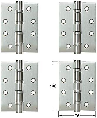 LOOTICH Bisagras de Puerta Acero Inoxidable Bisagra a Tope 102 x 76 mm para Atornillar con Rodamiento de Bolas Para Puertas de Interior sin Galce ...