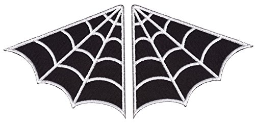 Set of 2 - Black Spider Web Wings Goth Rockabilly Biker Jack