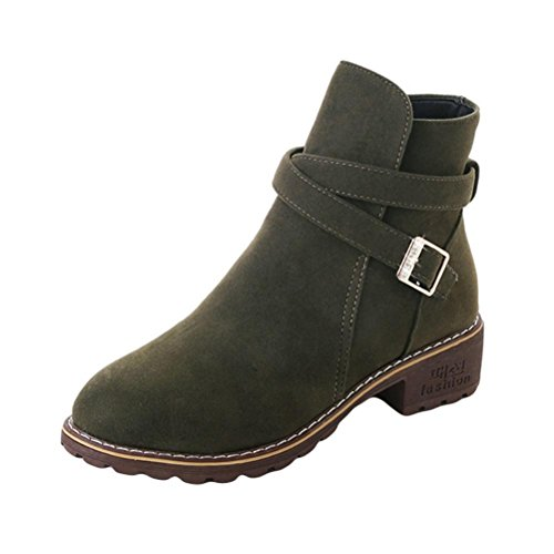 Womens Girls Ankle Boots, Autumn Winter Casual Martin Shoes 5.5-8 (Army Green, US:8) ()