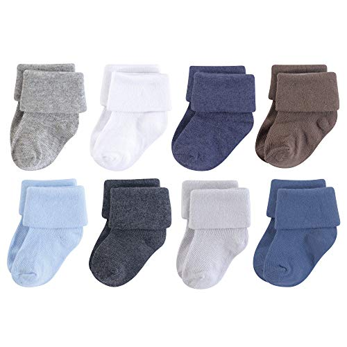 Luvable Friends Baby Basic Socks, Blue Charcoal Solid 8Pk, 0-6 Months