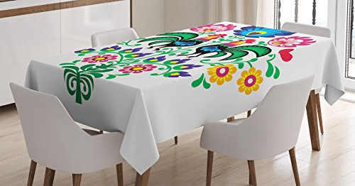 Gallos Decor Tablecloth by Ambesonne, Polish Embroidery with Roosters Garden Happy Fashion Celebration Spring Slav Poland Art, Dining Room Kitchen Rectangular Table Cover, 60 X 84 - Rooster Polish
