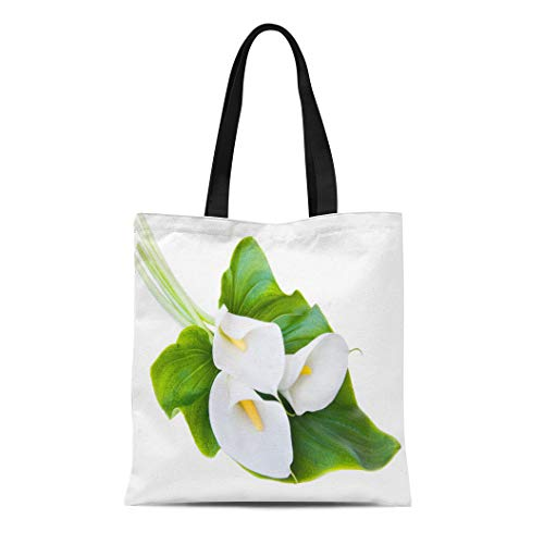 (Semtomn Canvas Tote Bag Shoulder Bags Cala Yellow Lily Three White Calla Lilies Leaf Green Women's Handle Shoulder Tote Shopper Handbag)