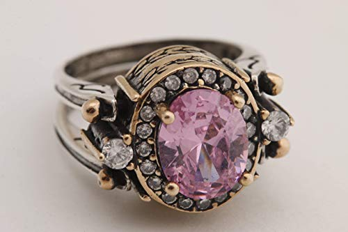 Turkish Handmade Special Design Jewelry 2 rings in 1 ring Reversible Oval Cut Pink Topaz 925 Sterling Silver Ladies Ring All Size