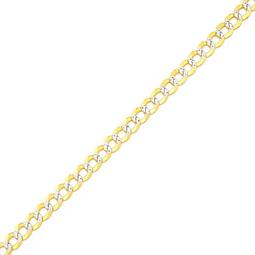 LoveBling 14K Yellow Gold 5.5mm 7'' Solid Pave Two-Tone Curb Chain Bracelet with White Gold Pave Diamond Cut, with Lobster Lock by LOVEBLING (Image #2)