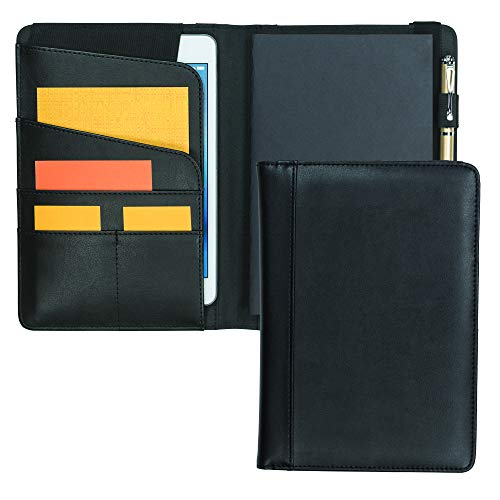 (Samsill Professional Notebook Junior Portfolio / Padfolio with Tablet Pocket (Fits Tablets up to 7.9 - Inch) & Composition Style Writing Notebook - 100 Sheets (200 pages), Black)