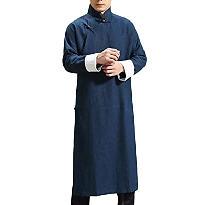 Top ouxiuli Men\'s Long Sleeve Cotton Chinese Style Chinese Kung Fu Linen Solid Color Long Coat for cheap mQ7kutLr