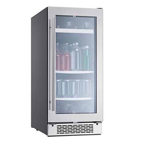 Zephyr Presrv Single Zone Beverage Cooler with Glass Door. 15 Inch 3.22 Cubic Feet Refrigerator for Under Counter, Wine Fridge, Beer Fridge, Compact Bar Fridge, Full Size Beverage Center, Reversible Door