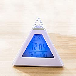 Transporter-Galaxy - 7 LED Changing Color Pyramid Triangle Digital LCD Alarm Desk Clock Thermometer