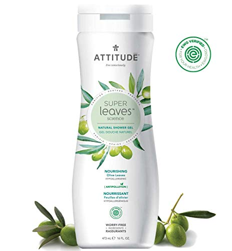 ATTITUDE Super Leaves, Hypoallergenic Nourishing Shower Gel, Olive Leaves, 16 Fluid Ounce