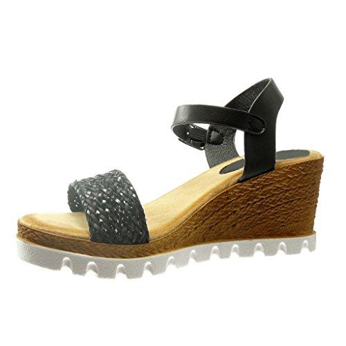 Angkorly - Chaussure Mode Sandale Espadrille plateforme ouverte femme corde Talon compensé plateforme 7 CM - Noir