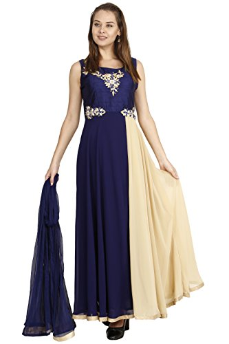 Manmandir Blue Colour Womens Faux Georgette Anarkali Readymade (Salwar Suits for Women) (Suit Blue Salwar)