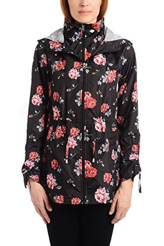 Details Women's Pack-it-in-a-Pouch Water-Resistant Vestee Jacket, Black/Chianti Rose, XL