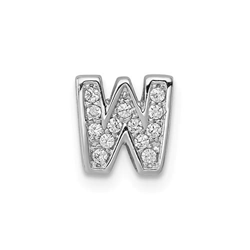 (925 Sterling Silver Cubic Zirconia Cz Letter W Slide Pendant Charm Necklace Chain Initial Fine Jewelry For Women Gift)