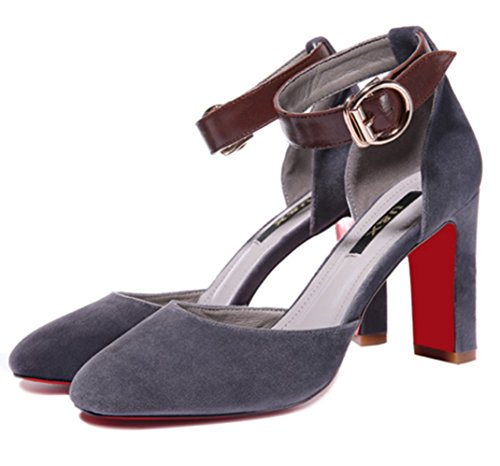 Women's Ankle Pointed High Grey Pumps Toe Stiletto Strap Heel Shoes WENDYWU qdwPSxP