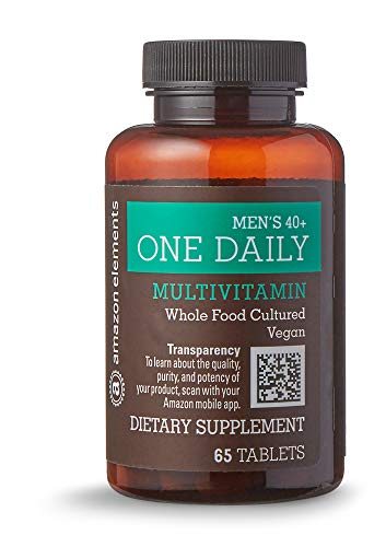 Amazon Elements Men's 40+ One Daily Multivitamin, 67% Whole Food Cultured, Vegan, 65 Tablets, 2 month supply