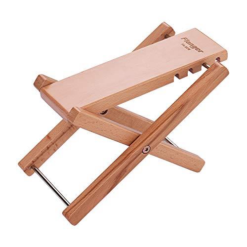 (Kalaok FA-80W Foldable Wooden Guitar Foot Rest Footstool Footrest Pedal Oak Solid Wood 4-Level Adjustable Height)