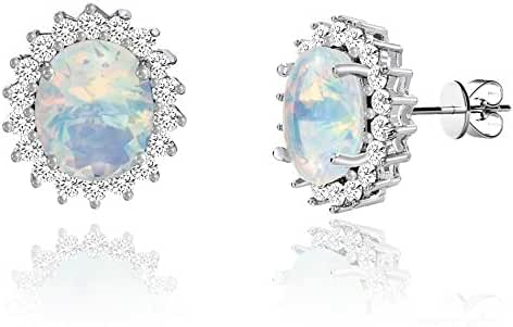 SPECIAL OFFER Moonstone Cubic Zirconia Halo Border Post Stud Earring