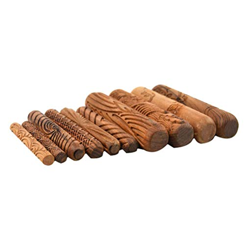 (Lzttyee Pack of 10 Wooden Handle Clay Modeling Pattern Rollers Kit Pottery Tools Set with Assorted Patterns)