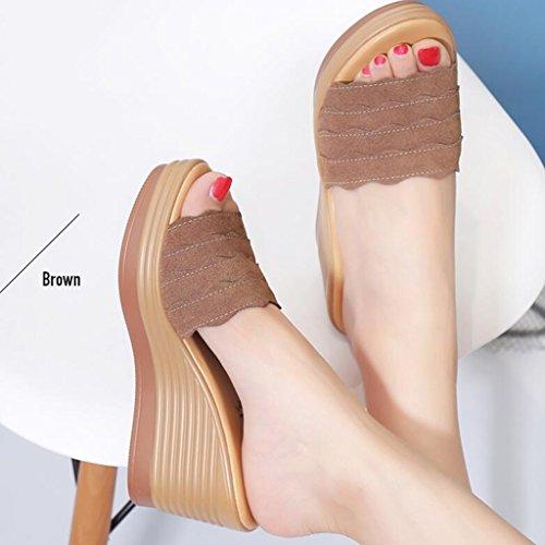 Pantoufles Chaussures Féminin Tige Fond Polyuréthane À Épais Marron Givrée Slope Hauts Talons Sandales Été FnpwzxAA